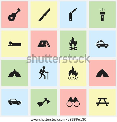 Set Of 16 Editable Travel Icons. Includes Symbols Such As Blaze, Gait, Sport Vehicle And More. Can Be Used For Web, Mobile, UI And Infographic Design.