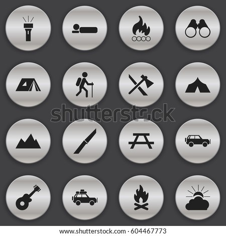 Set Of 16 Editable Travel Icons. Includes Symbols Such As Knife, Blaze, Shelter And More. Can Be Used For Web, Mobile, UI And Infographic Design.