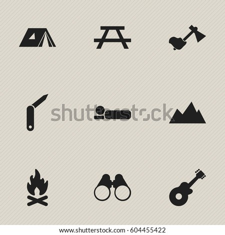 Set Of 9 Editable Trip Icons. Includes Symbols Such As Fever, Ax, Clasp-Knife And More. Can Be Used For Web, Mobile, UI And Infographic Design.