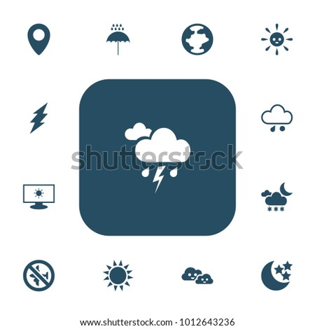 Set of 13 editable weather icons. Includes symbols such as hail, laughing overcast, snowy night and more. Can be used for web, mobile, UI and infographic design.