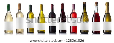 Set of eight different wine bottles with labels on a white background with reflection isolated.