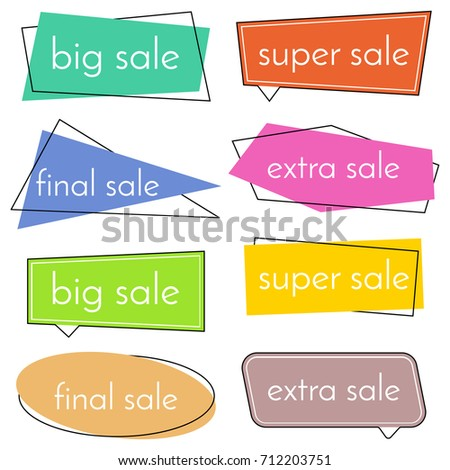 Set of eight sale bannes with colorful design elements.   #712203751