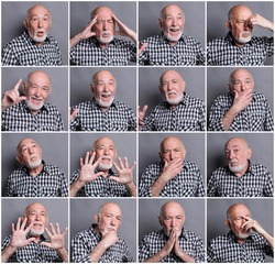 Set of elderly man emotions. Collage of different senior male feelings at gray studio background. Happiness, fear, rejection, surprise, disgust. Positive and negative grimaces