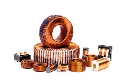 Set of electric copper coil inductor isolated on white background