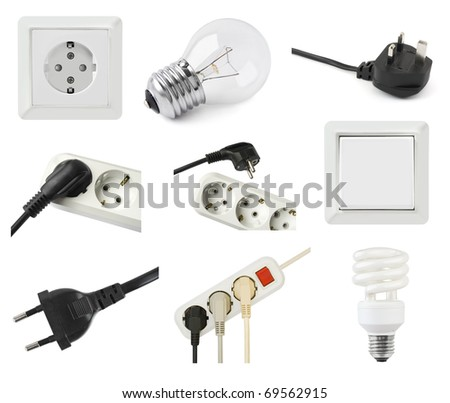 Set of electric equipment isolated on white background