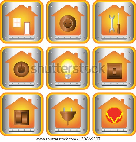 set of electric objects with house and metal button