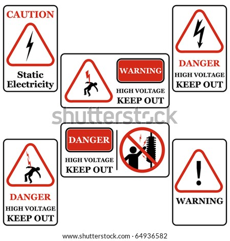 Set of electricity signs symbols isolated on white Black & Red