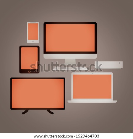 Set of electronic devices and devices for communication and leisure. Television, computer, laptop, mobile phone, tablet and computer tower. Warm colors on grey background.