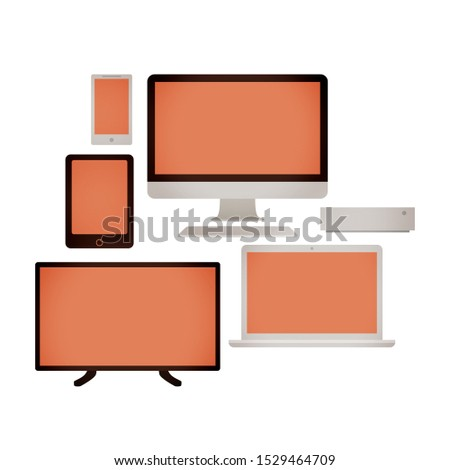 Set of electronic devices and devices for communication and leisure. Television, computer, laptop, mobile phone, tablet and computer tower. Warm colors on white background.