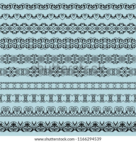 set of elegant black borders on the blue background #1166294539