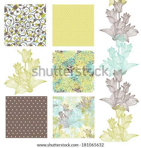 set of 6 elegant seamless patterns with decorative tulips, dots, curls and abstract flowers, design elements