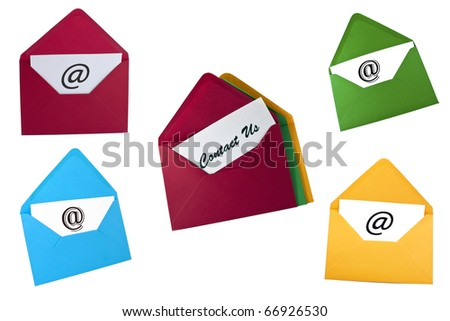 Set of email symbol and contact us card in envelopes isolated on white