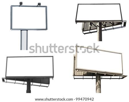 Set of empty billboards isolated on white background - stock photo