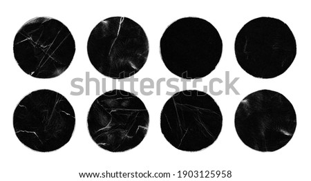 Set of Empty Black Scratched Circle Round Paper Peeled Stickers Isolated on White. Old Rough Black Empty Aged Damaged Disc Ring. Shabby Grunge Overlay Texture for Collage.