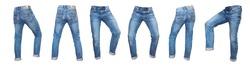 Set of empty denim jeans pants in different pose. Model fashion show blank textile design mock up
