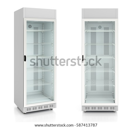 Set of empty glass door display refrigerator. Isolated on white background. 3d render