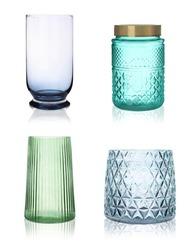 Set of empty glass vases on white background