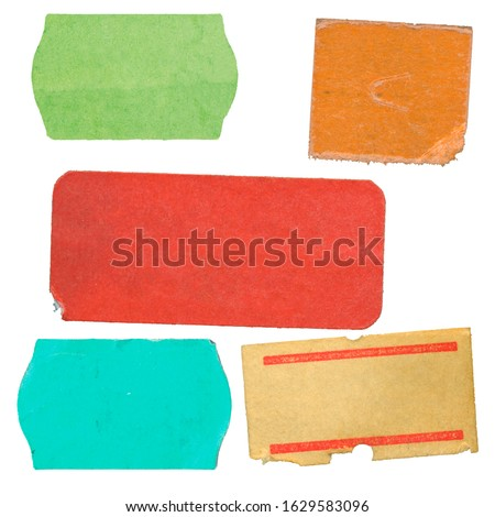 set of empty grungy adhesive price stickers, multicolored price tags, with free copy space, isolated on white background