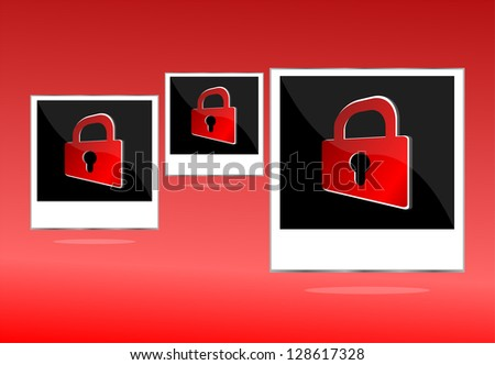 Set of empty photos with padlock on red background, raster