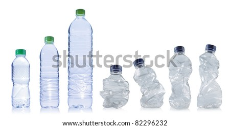 set of empty plastic bottles on white background. each one is shot separately