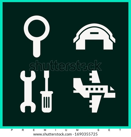 Set of 4 engine filled icons such as wrench and screwdriver, hangar, aeroplane