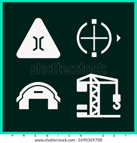 Set of 4 engineering filled icons such as crane, picker, hangar