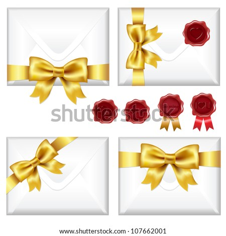 Set Of Envelopes With Golden Bow And Wax Seals, Isolated On White Background