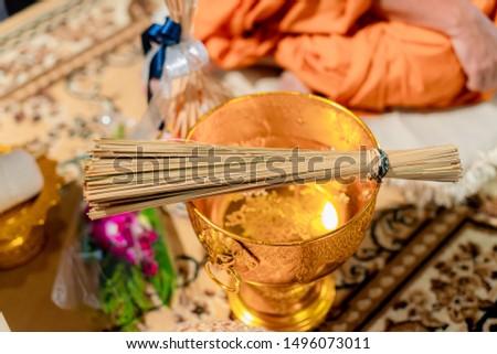 set of equipment to make buddhism holy water in religion celebrates. buddhist celebration. #1496073011