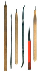 Set of etching printmaking graphic art tools various needles and duble curved burnisher