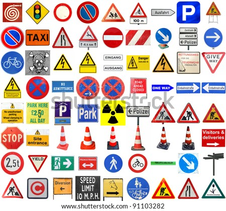 Set of European traffic signs isolated over white, with text in English and German