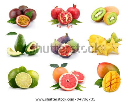 Set of exotic fruits isolated on white background