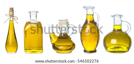 Set of extra virgin olive oil jars isolated on a white background