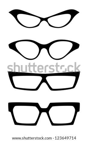 Set of extravagant glasses, isolated on white background - stock photo