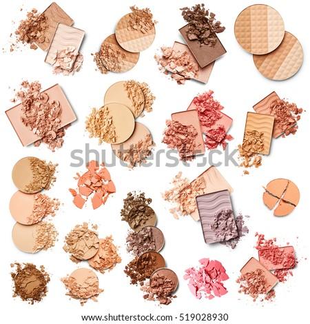 Set of eye shadow, face powder and blush isolated on white background