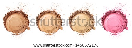 Set of face powder round stroke isolated on white background, top view and clipping