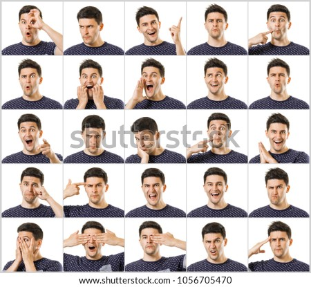Set of facial emotions of young beautiful black haired man, showing gestures and yelling, having great mood or bored or even angry