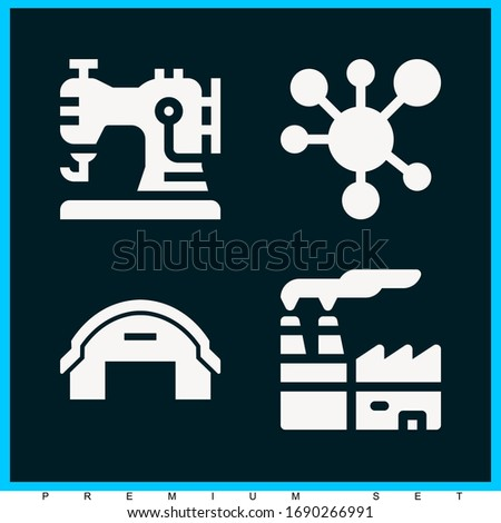 Set of 4 factory filled icons such as distribution, factory, hangar