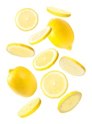 Set of falling delicious lemons on white background