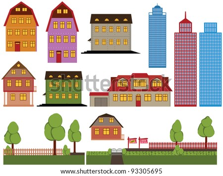 Set of family houses and skyscrapers - stock photo