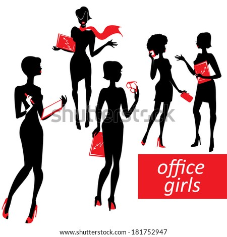 Set of fashionable business girls silhouettes on a white background. Raster version