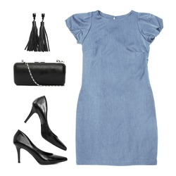 Set of fashionable clothing and accessories on a white background. Dress, black shoes with heels, bag and earrings. Elegant lady