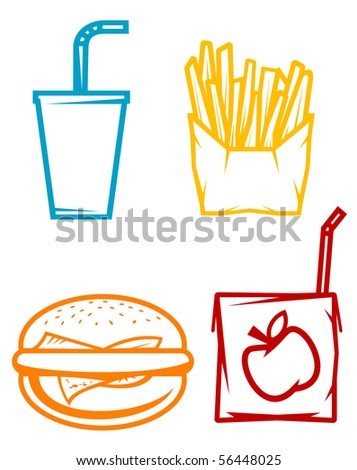 Set of fast food symbols or template. Vector version also available in gallery