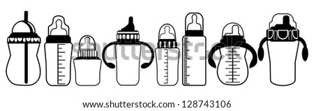 Set of Feeding Milk Bottles on White Background, Raster Version