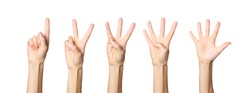 Set of female hand shows gesture on a white isolated background. Score from one to five. Maths