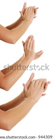 Set of female hands clapping on white background