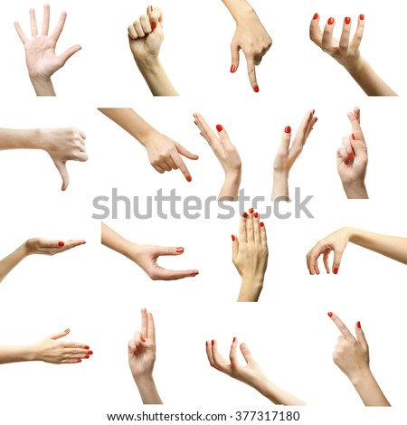 Set of female hands gestures, isolated on white #377317180