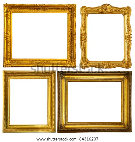 Set of few gold frame. Isolated over white background with clipping path