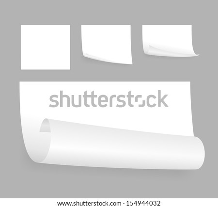 set of few little white adhesive papers #154944032