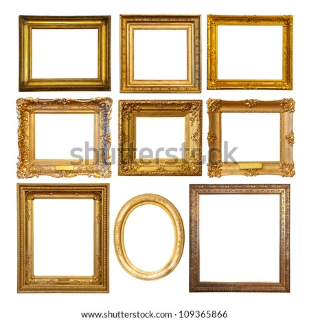 Set of few Luxury golden frames. Isolated over white background with clipping path