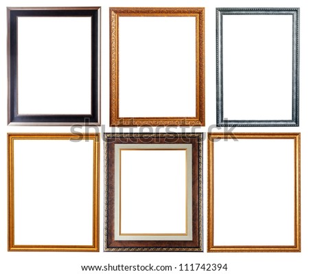 Set of few picture frames. Isolated over white background with clipping path